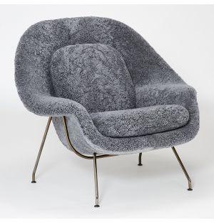 Limited Edition Womb Relax Armchair Scandinavian Grey & Black Chrome