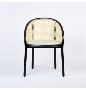 Ex-Display Latis Chair in Black Ash & Cream Byram Seat Upholstery
