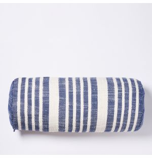 Woven Stripe Bolster Cushion Cover in Blue