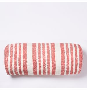 Woven Stripe Bolster Cushion Cover in Red