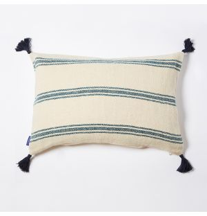 Handloom Woven Stripe Cushion Cover in Blue 36cm x 56cm