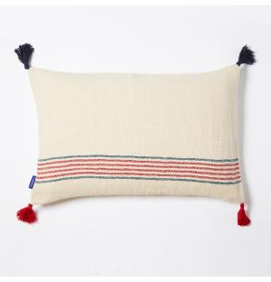 Handloom Woven Stripe Cushion Cover in Red 36cm x 56cm