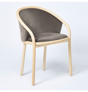 Latis Chair in Natural Ash & Duro Velvet Upholstery