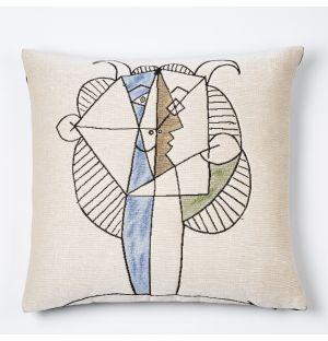Picasso 'Faune Jaune Et Bleu Jouant De La Diaule' Cushion Cover 45cm x 45cm