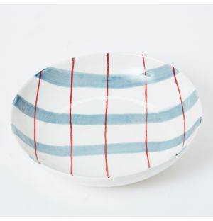 Pintura Thick Checked Pasta Bowl in Blue & Red