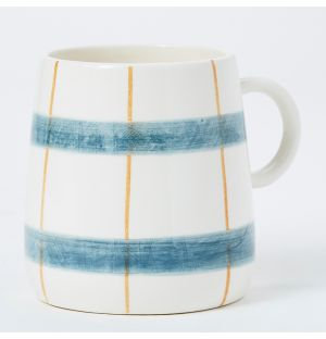Pintura Thin Checked Mug in Mustard & Green