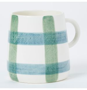 Pintura Thick Checked Mug in Blue & Green