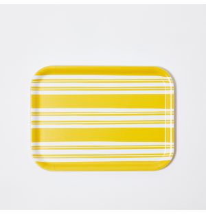 Small Bold Stripe Rectangular Tray in Yellow