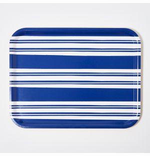 Large Bold Stripe Rectangular Tray in Blue
