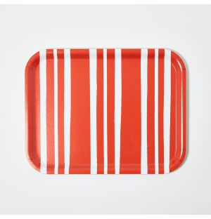Medium Bold Stripe Rectangular Tray in Red