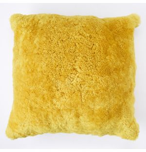 Sheepskin Cushion Cover in Yellow 45cm x 45cm