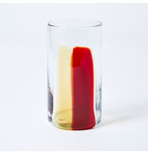 Stripe High Ball Glass in Amber & Burgundy