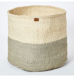 Large Colour Block Basket in Grey