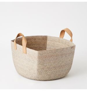 Square Revistero Basket with Leather Handles