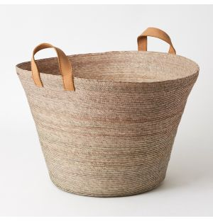 Tall Revistero Basket with Leather Handles