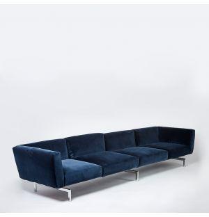 Ex-Display Avio 4-Seater Sofa in Velvet & Chrome