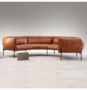 Otto Crescent Sofa in Tan Leather