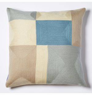 Blok Crewel Embroidered Cushion Cover in Yellow 45cm x 45cm