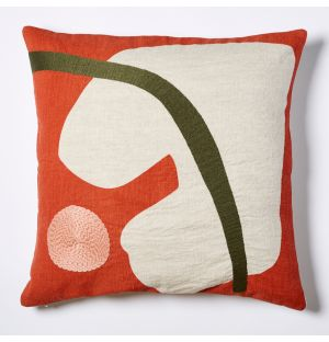 Marlie Embroidered Cushion Cover in Orange & Pink 45cm x 45cm