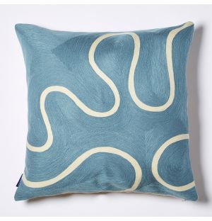 Cecilie Squiggle Crewel Embroidered Cushion Cover in Deep Blue 45cm x 45cm