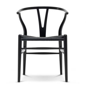CH24 Wishbone Chair in Black Oak & Black Paper Cord