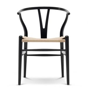 CH24 Wishbone Chair in Black Oak & Natural Paper Cord