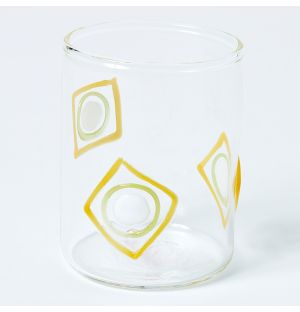 Glass Tea Light Holder in Green & Yellow