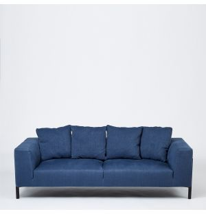 Sloan 3 Seater Sofa in French Blue Linen Ex-Display