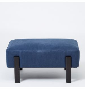 Sloan Footstool in French Blue Linen Ex-Display