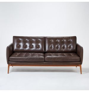 Elgin Button 3-Seater Sofa in Clay Romagna Leather Ex-Display