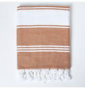 Honeycomb Hammam Towel in Brown & White