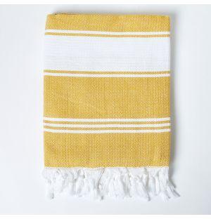 Honeycomb Hammam Towel in Mustard & White