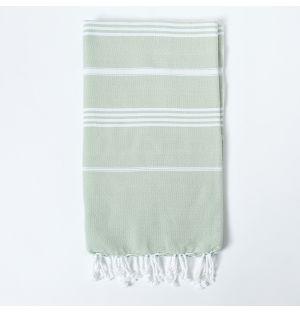 Honeycomb Hammam Towel in Sage & White