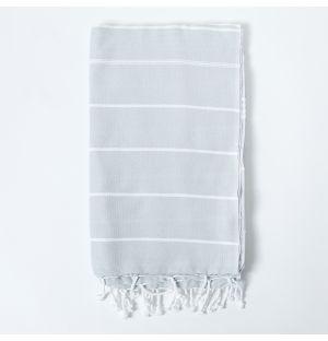 Honeycomb Hammam Towel in Light Grey & White