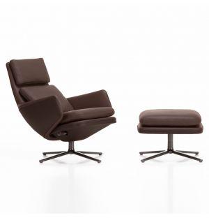 Tall Grand Relax Armchair & Ottoman Chestnut Base