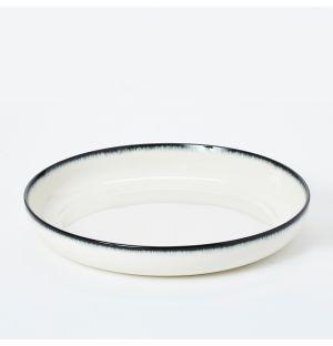 Bowl in Off White & Black 27cm