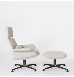 KN Reclining Armchair & Ottoman in Cream & Charcoal Ex-Display