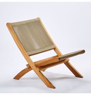 Folding Rope Lounge Chair in Teak