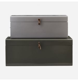 Metal Storage Boxes in Green & Grey Set of 2