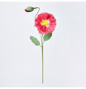 Poppy with Bud Paper Stem