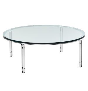 Exclusive HB 110 Coffee Table in Chrome & Glass 110cm