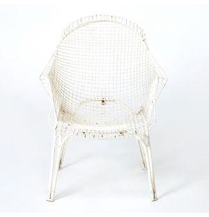 Vintage Wired Metal Garden Armchair in White