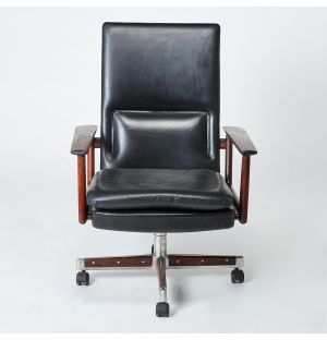 Vintage Arne Vodder Office Chair in Rosewood and Black Leather