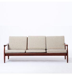 Vintage Scandinavian Sofa in Dark Grey & Teak