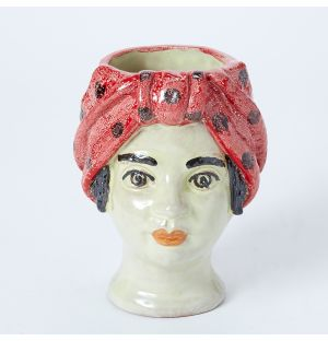 Small Woman Head Vase in Pink Polka Dot