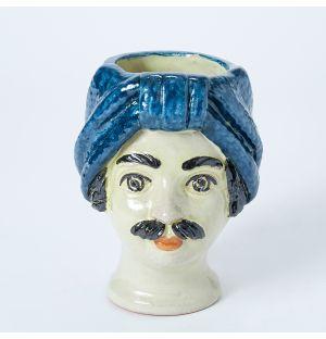 Small Man Head Vase in Blue