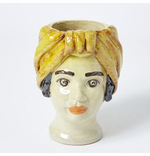 Small Woman Head Vase in Yellow