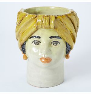 Large Woman Head Vase in Yellow