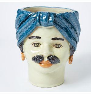 Large Man Head Vase in Blue