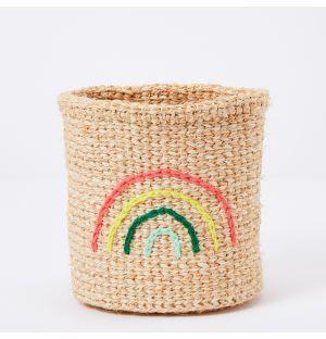Rainbow Embroidered Sisal Basket